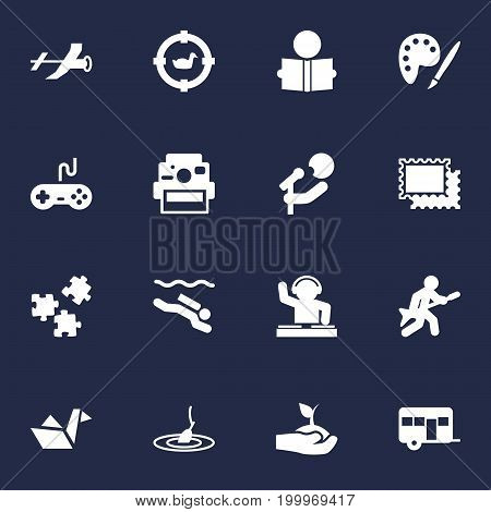 Collection Of Playing, Frogman, Photo Camera And Other Elements.  Set Of 16 Lifestyle Icons Set.
