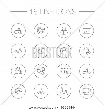 Collection Of Hunting, Shopping, Fishing And Other Elements.  Set Of 16 Hobbie Outline Icons Set.