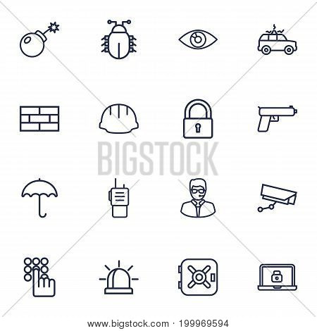 Collection Of Bodyguard, Supervision, Firewall And Other Elements.  Set Of 16 Safety Outline Icons Set.