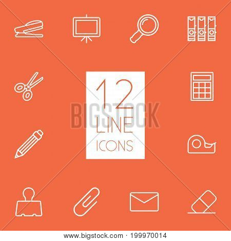 Collection Of Whiteboard, Puncher, Binder Clip And Other Elements.  Set Of 12 Stationery Outline Icons Set.