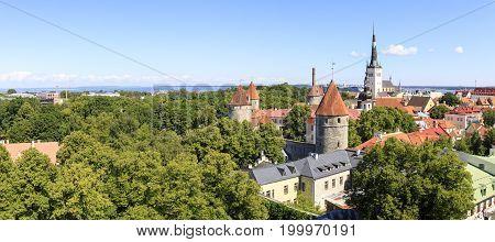 Summer city panorama of the old town of Tallinn capital of Estonia