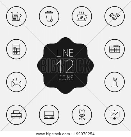 Collection Of Date, Recycle Bin, Pen Storage And Other Elements.  Set Of 12 Cabinet Outline Icons Set.