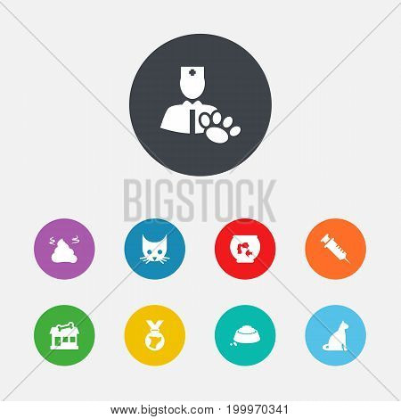 Collection Of Veterinarian, Medallion, Store And Other Elements.  Set Of 9 Animals Icons Set.