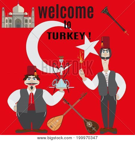 Welcome to Turkey vector illustration. Symbols of Turkey in flat style.