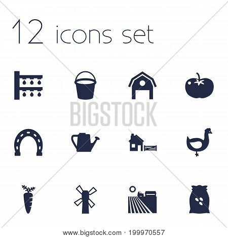 Collection Of Windmill, Storehouse, Bailer And Other Elements.  Set Of 12 Harvest Icons Set.