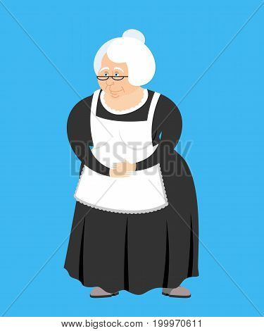Old teacher isolated. pedagogue grandmother. Governess retired. Vector illustration