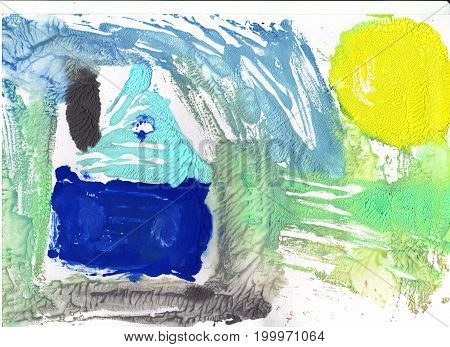 Abstract drawing with watercolor paint Aquarelle background