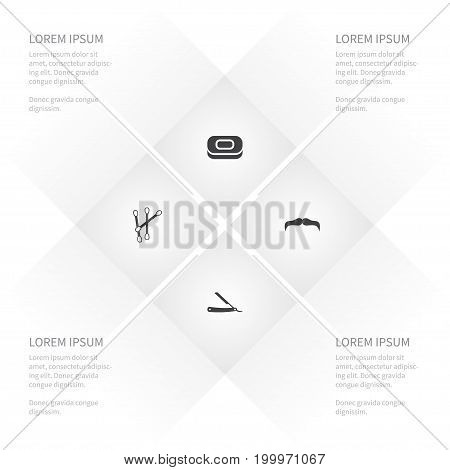 Icon Glamour Set Of Goatee, Straight, Ear Cleaner And Other Vector Objects