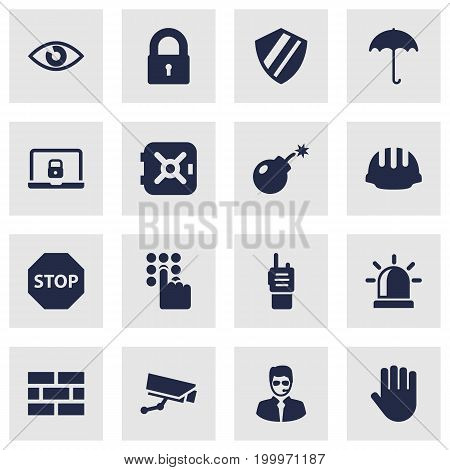 Collection Of Strongbox, Walkie-Talkie, Dynamite And Other Elements.  Set Of 16 Security Icons Set.