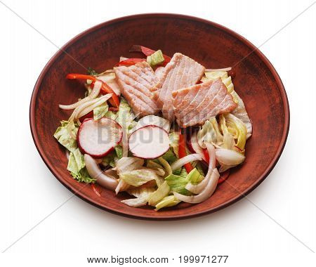 Healthy japanese restaurant food isolated at white. Bowl of steamed salmon and iceberg lettuce, red bell pepper salad with radish and onion. Asian cuisine