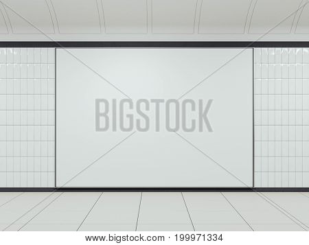 White blank billboard on clean station. 3d rendering