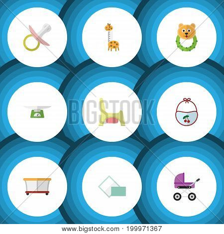 Flat Icon Kid Set Of Rattle, Playground, Nipple And Other Vector Objects