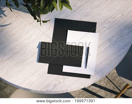 Branding mockup on the wooden table in restaurant. 3d rendering