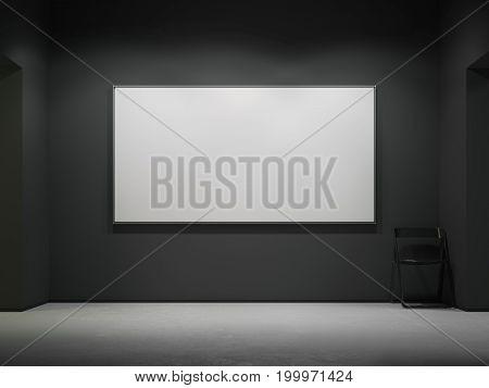 White blank canvas in the modern dark gallery. 3d rendering