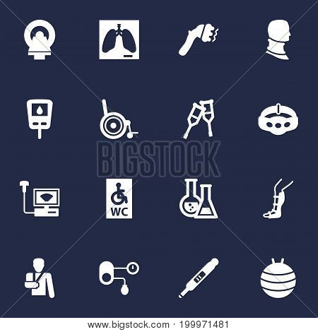 Collection Of Injury, Machine, Flask And Other Elements.  Set Of 16 Healthy Icons Set.