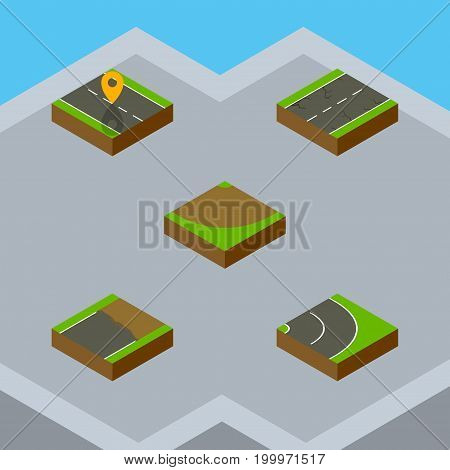 Isometric Way Set Of Unfinished, Cracks, Asphalt And Other Vector Objects