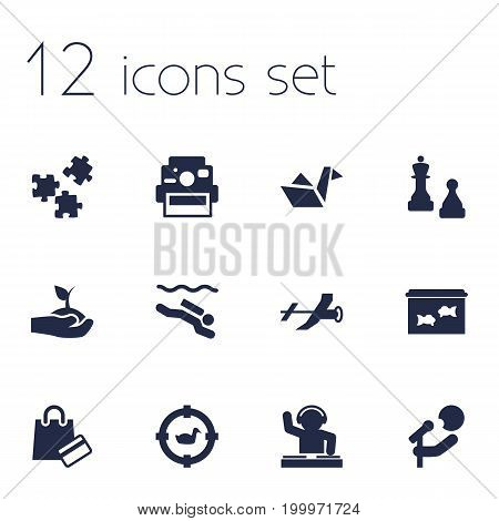 Collection Of Singer, Disco, Photo Camera And Other Elements.  Set Of 12 Entertainment Icons Set.