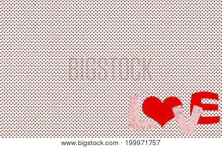 Small heart pattern for background or wallpaper with the word