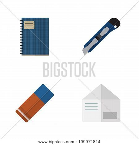 Flat Icon Stationery Set Of Letter, Copybook, Knife And Other Vector Objects