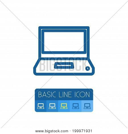 Monitor Vector Element Can Be Used For Monitor, Laptop, Computing Design Concept.  Isolated Computing Outline.