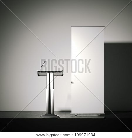 Silver tribune with a microphone and white rollup banner. 3d rendering