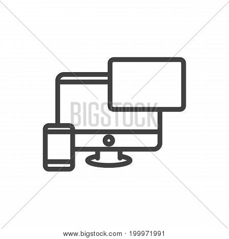 Vector Web Design Element In Trendy Style.  Isolated Responsive Outline Symbol On Clean Background.