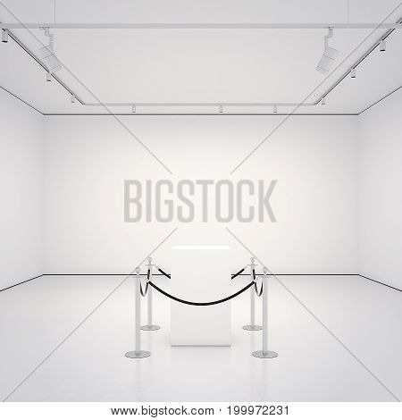White clean gallery with empty showcase. 3d rendering