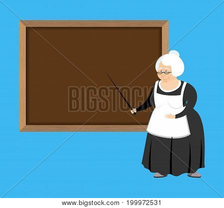 Old Teacher And School Board. Pedagogue Grandmother. Governessretired