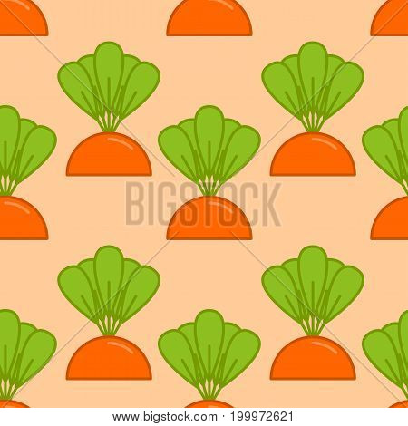 carrot grow seamless pattern. Vegetable on garden bed background