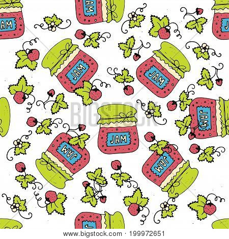 Seamless pattern with jam, marmalade and srawberries. Doodle vector illustration. Can be used for web page backgrounds, textile designs, fills, banners, cards, sale posters.