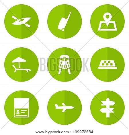 Collection Of Canoe, Citizenship, Cab And Other Elements.  Set Of 9 Relax Icons Set.