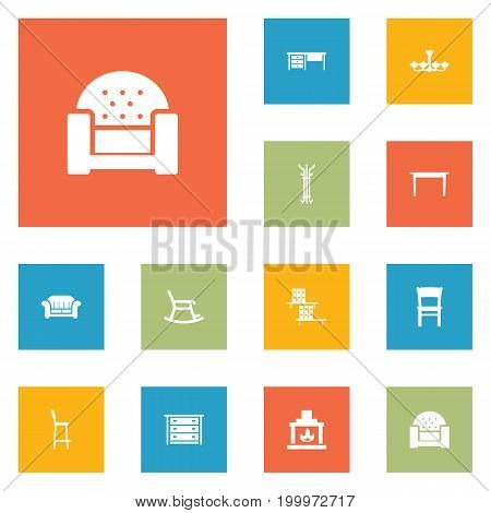 Collection Of Commode, Sofa, Bookcase And Other Elements.  Set Of 12 Set Icons Set.