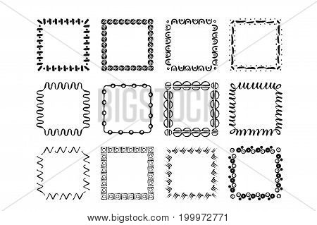 Vector modern geometric handdrawn ink frames. Set of 12 modern frames of different geometric shapes with organic handdrawn texture.