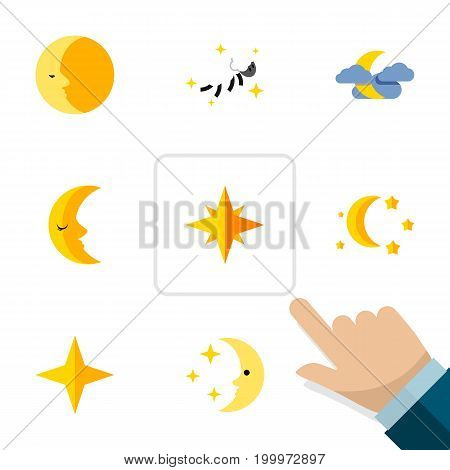 Flat Icon Night Set Of Midnight, Star, Bedtime And Other Vector Objects
