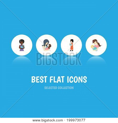 Flat Icon Mam Set Of Newborn Baby, Child, Baby And Other Vector Objects