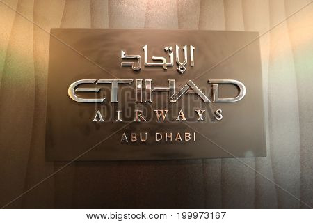 Hyderabad, India 17 March 2016 - Etihad Airways showcased its Boeing 787 Dreamliner at India Aviation Week in Begumpet Airport Hyderabad. Logo plate in the First Class cabin