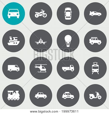 Collection Of Car, Lorry, Scooter And Other Elements.  Set Of 16 Shipping Icons Set.