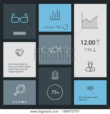 Collection Of Magnifier, Glasses, Loudspeaker And Other Elements.  Set Of 8 Business Outline Icons Set.