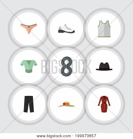 Flat Icon Garment Set Of Lingerie, Pants, Clothes And Other Vector Objects