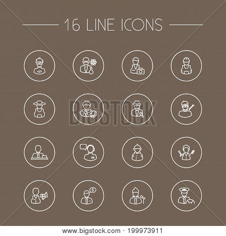 Collection Of Firefighter, Banker, Taxi And Other Elements.  Set Of 16 Professions Outline Icons Set.