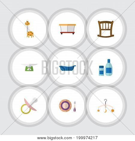 Flat Icon Baby Set Of Nipple, Playground, Children Scales And Other Vector Objects