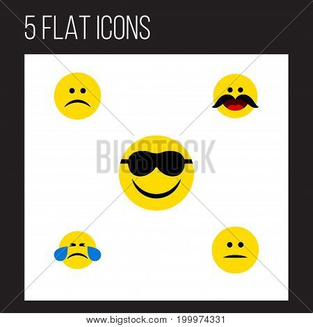 Flat Icon Face Set Of Sad, Cold Sweat, Happy And Other Vector Objects