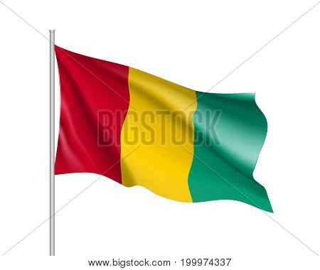 Guinea flag. Illustration of Africa country waving flag on flagpole. Vector 3d icon isolated on white background. Realistic illustration