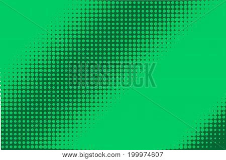 Halftone pattern. Comic background. Dotted retro backdrop with circles, dots. Design element for web banners, posters, cards, wallpapers, sites. Pop art style. Vector illustration. Green
