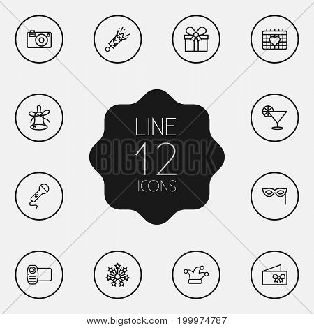 Collection Of Microphone, Mask, Decorative And Other Elements.  Set Of 12 Cheerful Outline Icons Set.