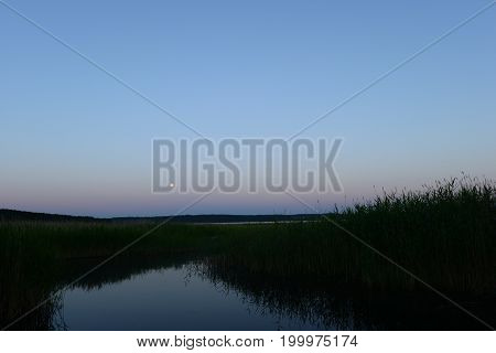 Moonlit white summer night on the lake