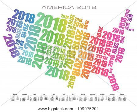 2018 America Calendar made out of numbers in rainbow colors