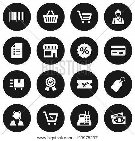 Collection Of Identification Code, Cargo, Ticket And Other Elements.  Set Of 16 Shopping Icons Set.