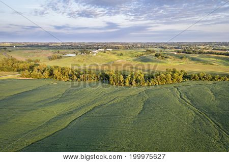 aerial view of green soybean fields and meadows in a valley of the Missouri River, near Glasgow, MO, late summer
