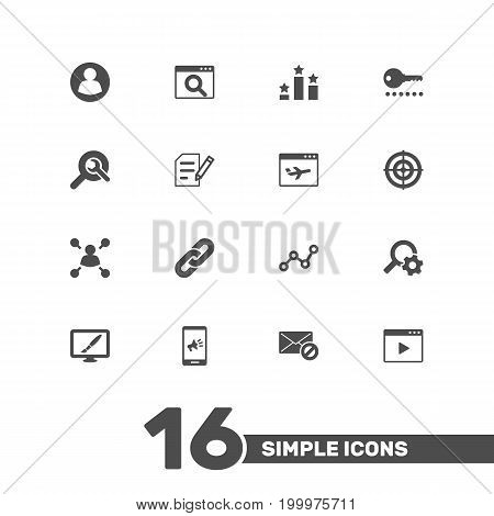 Collection Of Design, Marketing, Airplane And Other Elements.  Set Of 16 Optimization Icons Set.